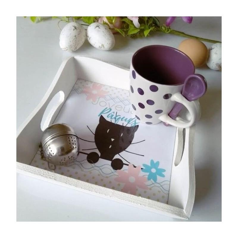 Plateau déco et service de Pâques, chat et fleurs,photo exemple, Tribu de chats