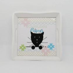 Plateau déco et service de Pâques, chat et fleurs,Tribu de chats