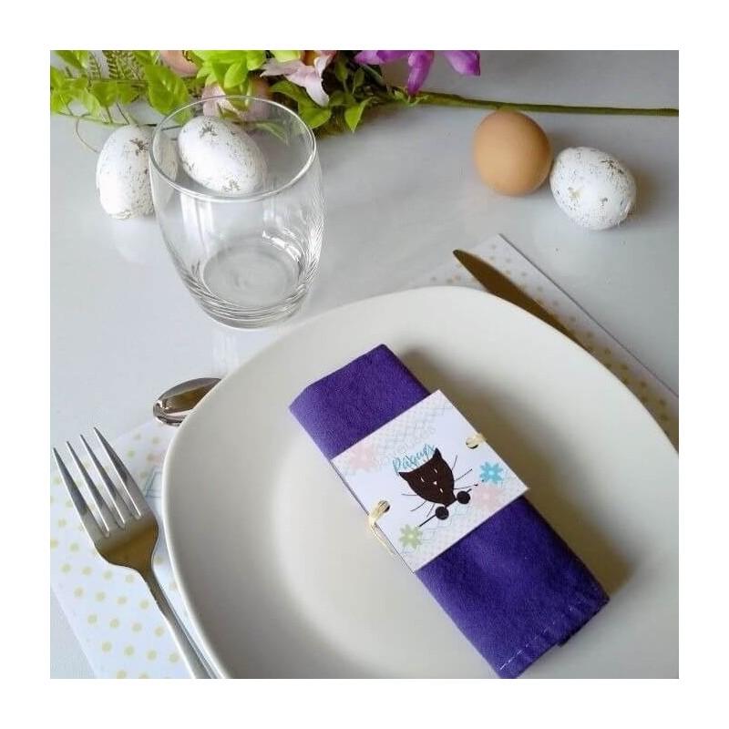 Rond de serviette Pâques, chat et fleurs, photo exemple, Tribu de chats