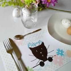 Set de table Pâques, chat et fleurs, papier A4, photo exemple, Tribu de chats