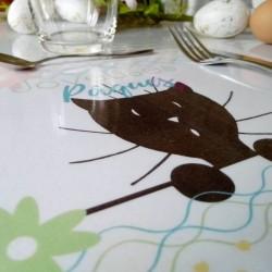 Set de table Pâques, chat et fleurs, papier A4,détail, Tribu de chats