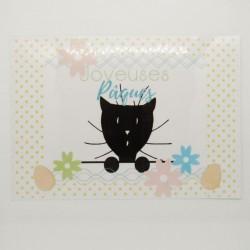 Set de table Pâques, chat et fleurs, papier A4,Tribu de chats
