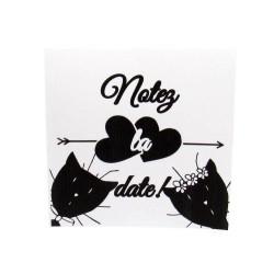 Annonce de mariage classique noir et blanc, carte double, thème chat Tribu de chats