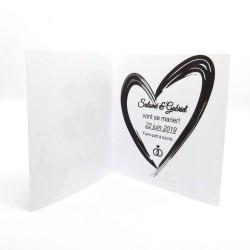 Annonce de mariage classique noir et blanc, carte double, thème chat Tribu de chats, intérieur