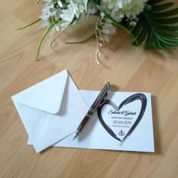 Save the date de mariage classique noir et blanc, carte double, thème chat, photo exemple texte, Tribu de chats