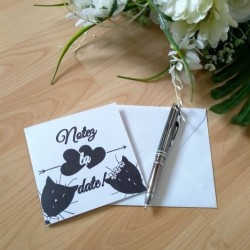 Save the date de mariage classique noir et blanc, carte double, thème chat, photo exemple, Tribu de chats