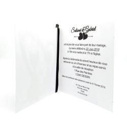 Faire-part de mariage classique noir et blanc carte double thème chat Tribu de chats intérieur