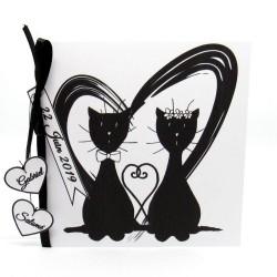 Faire-part de mariage classique noir et blanc, carte double, thème chat Tribu de chats