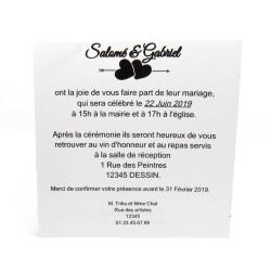 Faire-part de mariage classique noir et blanc, carte double, thème chat Tribu de chats, texte