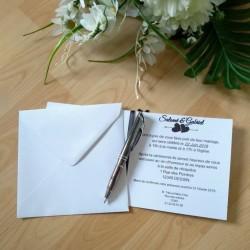 Faire-part de mariage classique noir et blanc, carte double, thème chat, photo exemple texte, Tribu de chats