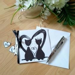 Faire-part de mariage classique noir et blanc, carte double, thème chat, photo exemple, Tribu de chats