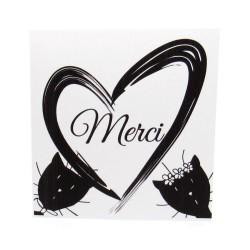 Carte de remerciement de mariage classique noir et blanc, carte double, thème chat Tribu de chats