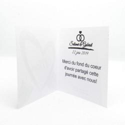 Carte de remerciement de mariage classique noir et blanc, carte double, thème chat Tribu de chats, intérieur