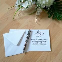 Carte de remerciement de mariage classique noir et blanc, carte double, thème chat, photo exemple texte, Tribu de chats