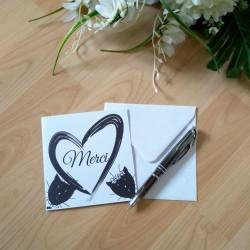 Carte de remerciement de mariage classique noir et blanc, carte double, thème chat, photo exemple, Tribu de chats