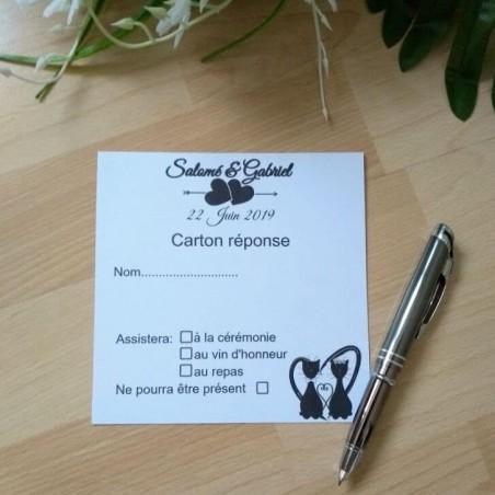 Carton réponse de mariage classique noir et blanc, carte double, thème chat, photo exemple modèle au singulier,Tribu de chats