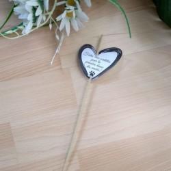 Etiquette de mariage pour bâtonnet scintillant, coeur et patte de chat, classique noir et blanc, Tribu de chats