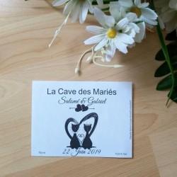 Etiquette bouteille autocollante pour mariage, chats dans un coeur, classique noir et blanc, photo exemple, Tribu de chats