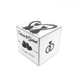 Boite à dragées de mariage cube, classique noir et blanc, thème chat, côté, Tribu de chats