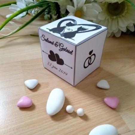 Boite à dragées de mariage cube, classique noir et blanc, thème chat, photo exemple, Tribu de chats