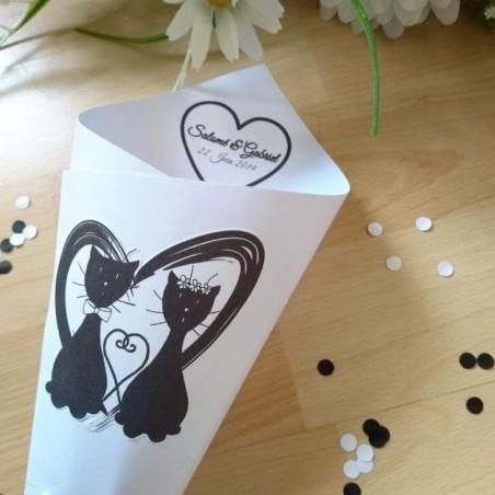 Cornet à confetti de mariage, coeur et couple de chats, classique noir et blanc, photo détail, Tribu de chats