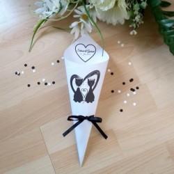 Cornet à confetti de mariage, coeur et couple de chats, classique noir et blanc, photo exemple,Tribu de chats