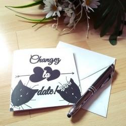 Change the date de mariage classique noir et blanc, carte double, thème chat, photo exemple, Tribu de chats