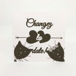Annonce report de mariage, classique noir et blanc, carte double, thème chat Tribu de chats