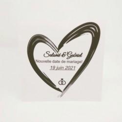 Annonce report de mariage, classique noir et blanc, carte double, texte, thème chat Tribu de chats