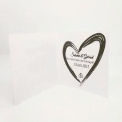 Annonce report de mariage, classique noir et blanc, carte double intérieur, thème chat Tribu de chats