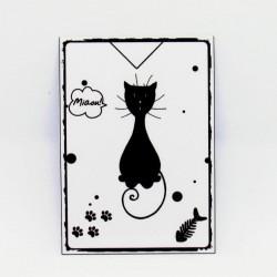Marque page papier plastifié, motif silhouette de chat assis de face, noir et blanc, Tribu de chats