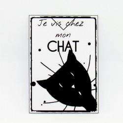 Marque page papier plastifié, motif tête de chat et texte humour je vis chez mon chat, noir et blanc, Tribu de chats