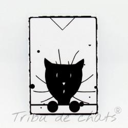 Marque page papier plastifié, motif tête de chat, chat curieux, noir et blanc, Tribu de chats