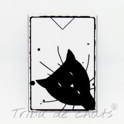 Marque page papier plastifié, motif tête de chat, coucou, noir et blanc,Tribu de chats
