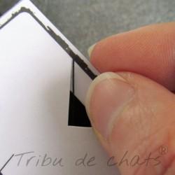 Marque page papier plastifié à fixer sur la page, motif silhouette de chat, noir et blanc, Tribu de chats