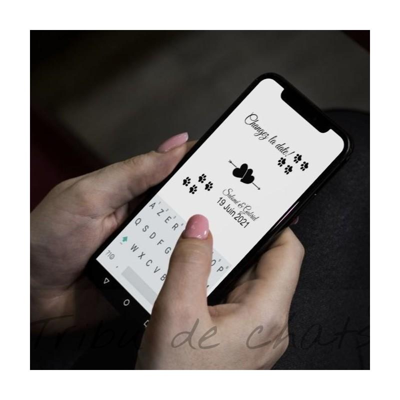 Annonce report de mariage numérique, classique noir et blanc, carte double, thème chat Tribu de chats