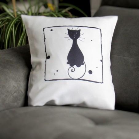 Coussin déco chat, motif silhouette de chat assis, noir et blanc, Tribu de chats