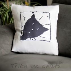 Coussin déco chat, motif tête de chat coucou, noir et blanc, Tribu de chats