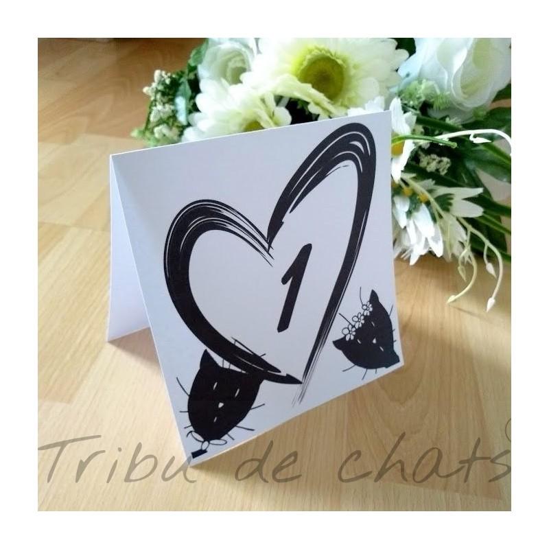 Carton numéro de table de mariage, centre de table, classique noir et blanc thème chat, Tribu de chats, exemple