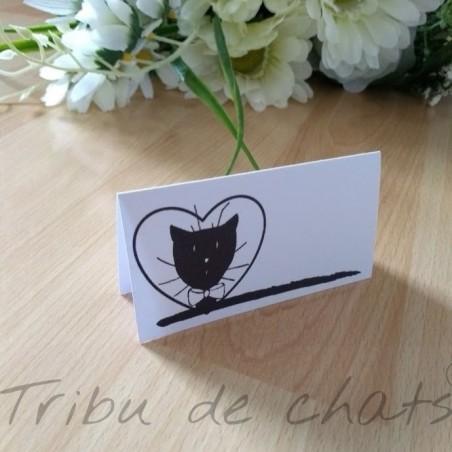 Marque place de mariage, homme, classique noir et blanc thème chat, Tribu de chats, exemple