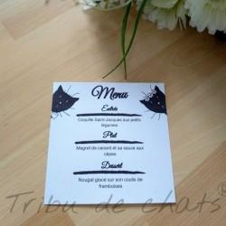 Menu de mariage classique noir et blanc, carte simple, thème chat Tribu de chats, exemple