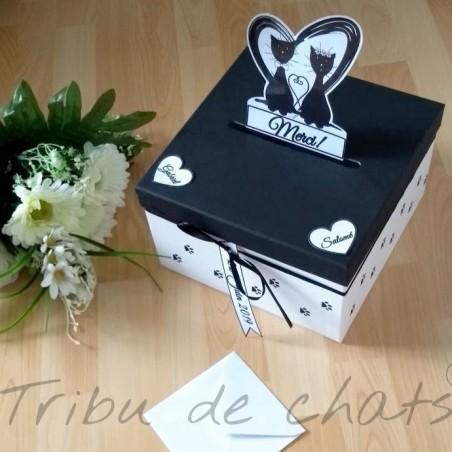 Urne de mariage carrée, classique, noire et blanche, couple de chats et empreintes de chats, Tribu de chats, exemple