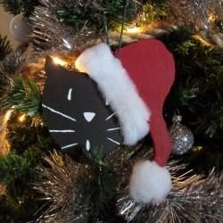 Déco de Noël chat, en bois, à accrocher dans le sapin, chat avec bonnet de Père Noël, Tribu de chats