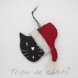 Sujet de Noël en bois à accrocher dans le sapin chat avec bonnet de Père Noël, Tribu de chats