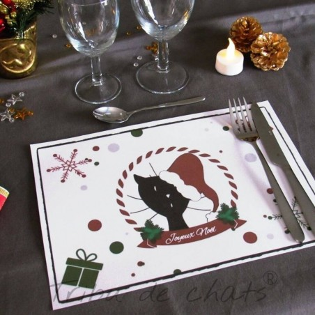 Set de table de Noël, chat Père Noël, exemple de présentation, Tribu de chats