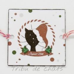 Rond de serviette chat Père-Noël, papier plastifié, Tribu de chats