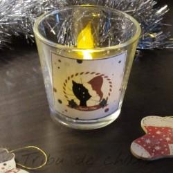 Photophore Noël, chat Père Noël, illumination soir de Noël, Tribu de chats