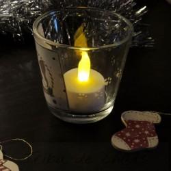Photophore Noël, chat Père Noël, table réveillon de Noël, Tribu de chats