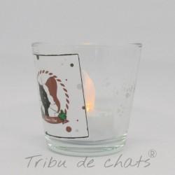 Photophore Noël, chat Père Noël, verre, côté, Tribu de chats