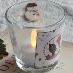 Photophore Noël, chat Père Noël, verre, détail exemple, Tribu de chats